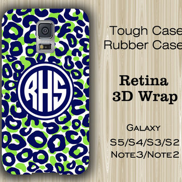 Green and Blue Leopard Monogram Samsung Galaxy S5/S4/S3/Note 3/Note 2 Case