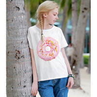 Donut Print Women Short Sleeve Casual Plain Hipster Top Shirt T-Shirt _ 4086