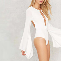 Flare Sleeve Solid White Hollow Out Sexy Jumpsuit LAVELIQ