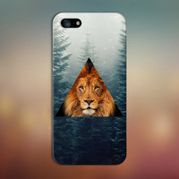Geometric Lion x Evergreen Forest Fog Phone Case for iPhone 6 6 Plus iPhone 5 5s 5c iPhone 4 4s Samsung Galaxy s6 s5 s4 & s3 and Note 4 3 2