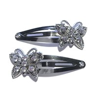 Rhinestone Butterfly Snap Clips