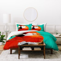 Three Of The Possessed Parrot Red Duvet Cover