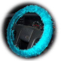 Teal Turquoise fluffy furry fuzzy car steering wheel cover neptune