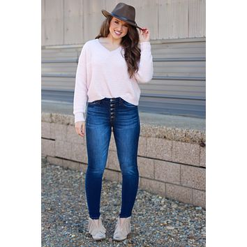 Moana Brushed Chenille V-neck Sweater {Pale Pink}