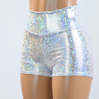 Silver on White Shattered Glass Holographic High Waist Shorts