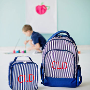 Monogrammed Lunchbox Lunchbag Navy Stripe Pinstripe Insulated Cooler School Personalized