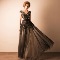 Long black Lace see through prom dresses 2016 Sweetheart o neck backless bandage Sequin prom dress sleeves 1172.ty1229
