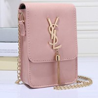 YSL Women Shopping Leather Metal Chain Crossbody Shoulder Bag Satchel Pink