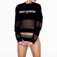 Worst Behavior See Through Mesh Casual Sexy Crop Top Sweatshirt Top Shirt T-Shirt _ 8426