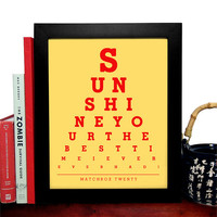 Matchbox Twenty, Sunshine Your The Best Time I Ever Ever Had, Eye Chart, 8 x 10 Giclee Art Print, Buy 3 Get 1 Free
