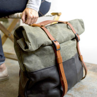 HotShot in Black Leather & Olive Canvas