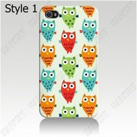 For iphone 5 iphone 4 4s Cover Case Skin arts cute little owls
