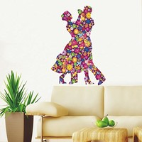Colorful Wall Decals Dancing Couple Music Dance Studio Full Color Flowers Dancers Floral Patterns Wall Vinyl Decal Stickers Bedroom Murals