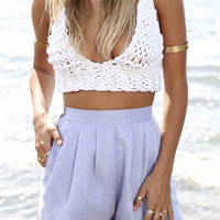 White Crochet Knit Strappy Bralet Top
