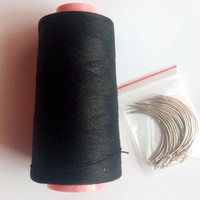 24 pcs C needle with gift 1 PC Black cotton thread sewing thread hair weaving thread