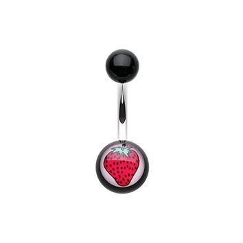 Strawberry Acrylic Belly Button Ring