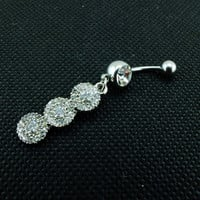 Fashion White Crystal Navel Belly Button Barbell Rings Rhinestone Body Piercing