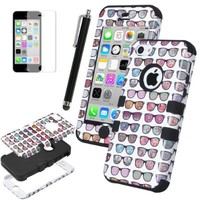 iPhone 5C Case, ULAK 3in1 Hybrid High Impact Shock Absorbing Soft TPU and Hard PC Case Cover for Apple iPhone 5C Fashion Sunglasses Pattern With Screen Protector and Stylus (The way I see it/Black)