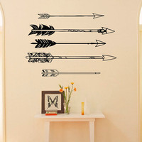 Arrows Wall Decals Vinyl Stickers- Navaho Arrows Wall Decor- Simple Indie Arrows Wall Art- Tribal Wall Art Bedroom Dorm Living Room C051