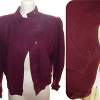 Vintage 80s New Wave Burgundy Wool Asymmetrical Cropped Military Jacket Mens or Womens