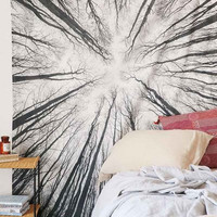 India Mandala Cool Black Tree Branches on White Beach Throw, Bed Manta, Yoga Mat,Tapestry 210*150cm