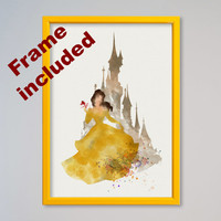 Beauty and the Beast Belle Princess Disney Watercolor FRAMED Poster Belle Castle print Kids Gift Wall Hanging little girl Nursery art