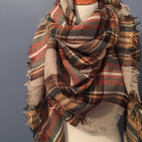 Blanket Scarf Gray/Brown