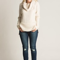 Lina Ivory Cowl Neck Sweater