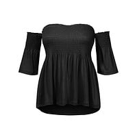 Smocked Off Shoulder 3/4 Sleeve Cropped Top (CLEARANCE)