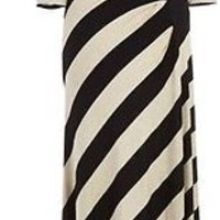 Calvin Klein Maxi Dress - Striped Side Ruched SZ 12