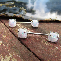Nipple piercing jewelry barbells white opal gemstone nipples rings 14g prong set opals stainless steel silver pair set body straight bars