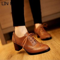 Carved British Style Oxford Shoes for Women Flat Lace Up Women Oxfords Ladies Casual Spring & Autumn Flat Lolita Shoes