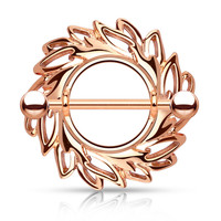 Rose Gold Swirling Leaves Tribal Nipple Shield with 316L Surgical Steel Barbell 14ga Nipple Barbell