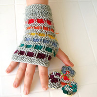 Hand Knitted Fingerless Gloves rainbow colors by boutiqueseragun