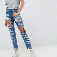ASOS ORIGINAL MOM Jeans in Authentic Mid Wash with Extreme Super Busts at asos.com