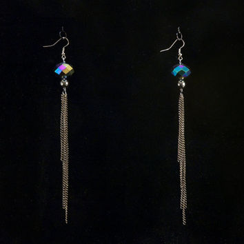 faceted glass and hematite beads with gunmetal chain tassel // long earrings