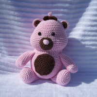 Crochet Teddy Bear Stuffed Animal in Pink and Brown, Crochet Stuffed Animal - Teddy Bear Plush Animal Toy