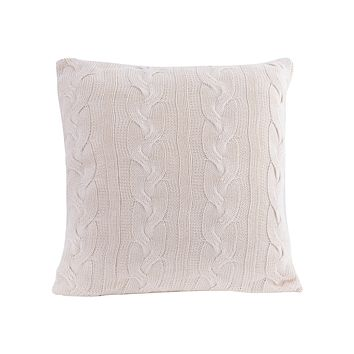 Cable Knit Natural Cotton Cushion/Pillow In White
