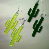 Cactus Earrings in Neon Green or Green, Southwestern Style Fashion, Festival Boho Style