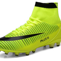 High Ankle Men Green TF/FG/AG professional Soles Cleats Outdoor Soccer Shoes CR7 Outdoor Sports Football Boot Shoes