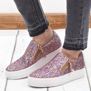Not Rated: Glitter Zipper Timothy Slide On Sneakers {Rose Gold}