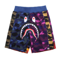 Bape Aape New fashion shark print contrast color camouflage couple shorts