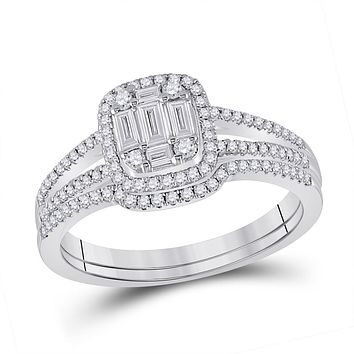 14k White Gold Baguette Diamond Bridal Wedding Ring Set 1/2 Cttw