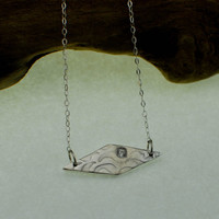 OOAK Fine Silver Pendant with 3mm Premium CZ  - Ready To Ship