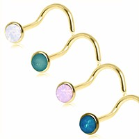 Gold Plated Opalite Screw Nose Ring