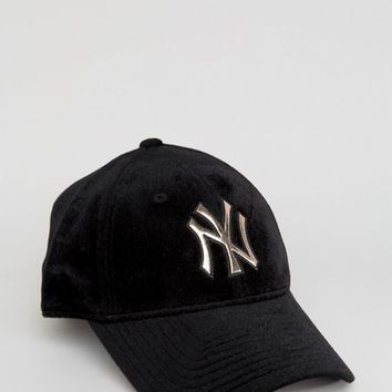 New Era Exclusive 9Forty Velvet Cap with Rose Gold NY at asos.com