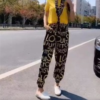 """Louis Vutitton LV"" Women Temperament Fashion Retro Multicolor Pattern Print Short Sleeve Trousers Set Two-Piece Sportswear"