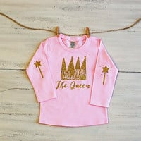 Infant Glitter T Shirt Her Royal Highness The Queen Long Sleeve Tee Pink with Glitter Crown and Wand Elbow Patches