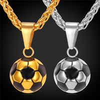 Sporty necklace football Pendant With Chain Stainless Steel Soccer Necklace Gold Plated Men Women sport ball Jewelry P2299Y