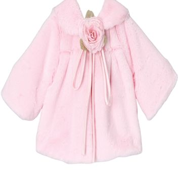 Pink Plush Faux Fur Short Half Coat Jacket (Baby to Girls Size 10)